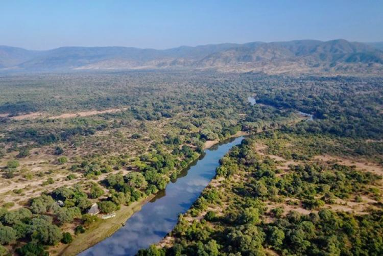 Le parc du Lower Zambezi vu du ciel (photo d'Andrew Macdonald Time & Tide - Chongwe Safaris)