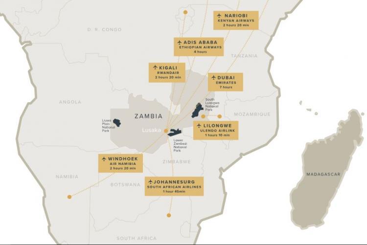 La Zambie, au coeur de l'Afrique australe (carte @Norman Carr)