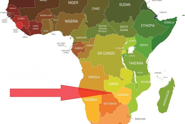 Carte de l'Afrique et situation géographique du Zimbabwe