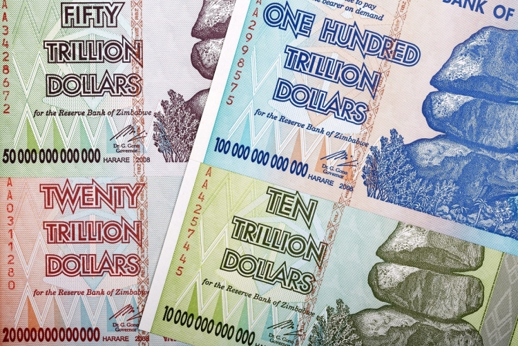 Billets de banque zimbabwéen hyper-inflation