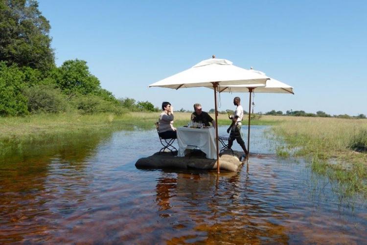 Déjeuner les pieds dans l'eau, en safari en Afrique