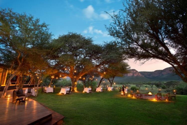 Les jardins éclairés de Marataba Safari Lodge en voyage en Afrique du Sud