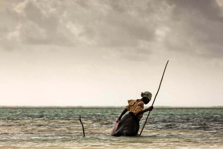 Une femme pêcheuse sur les plages de Zanzibar