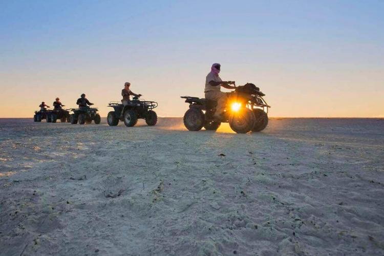 Quad sur le pan asséché du Makgadikgadi au désert du Kalahari