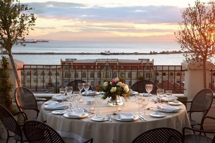 Vue depuis la terrasse du Mediterranean Palace en séjour à Thessalonique