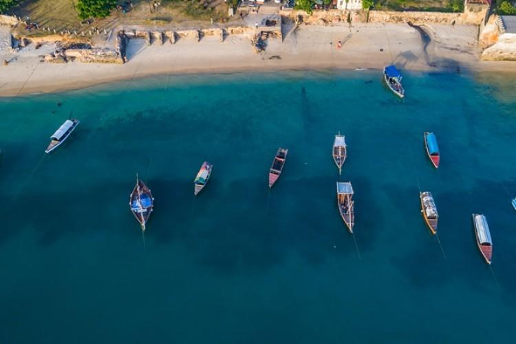 Le front de mer de Zanzibar Stown Town vu du ciel